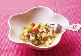 春野菜のスープパスタ風
